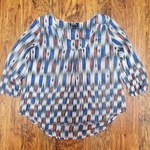 Lucky Brand Sheer High-Low Checkered Top